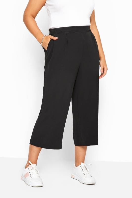Black Crepe Cropped Trousers
