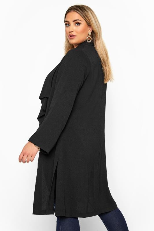 Black Crepe Longline Jacket