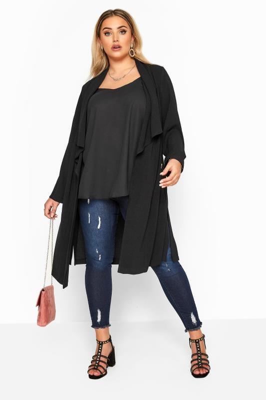 Black Crepe Longline Jacket