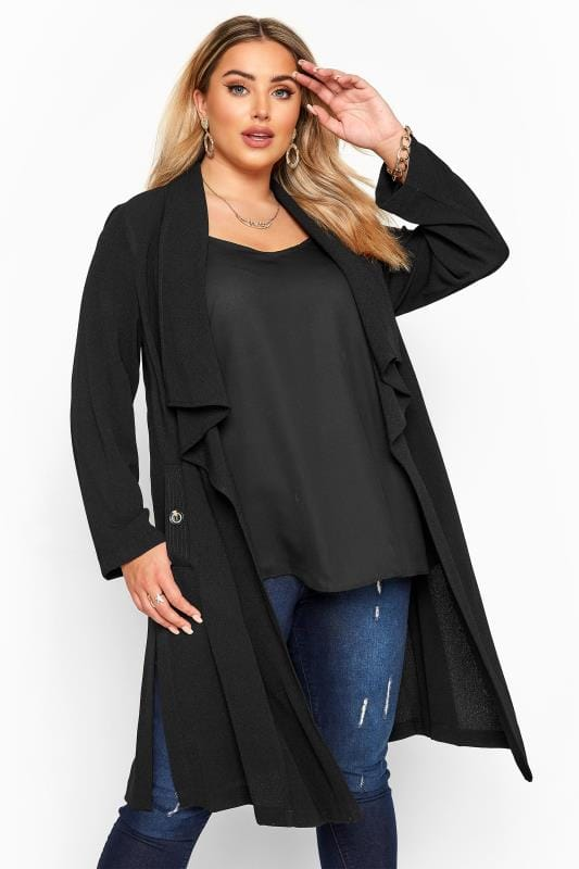 Plus Size Jackets Black Crepe Longline Jacket