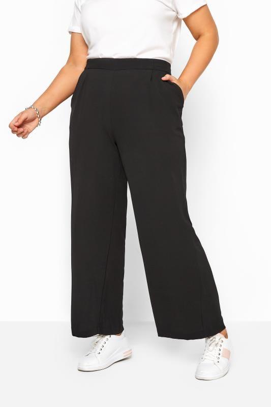 Black Crepe Single Pleat Trousers