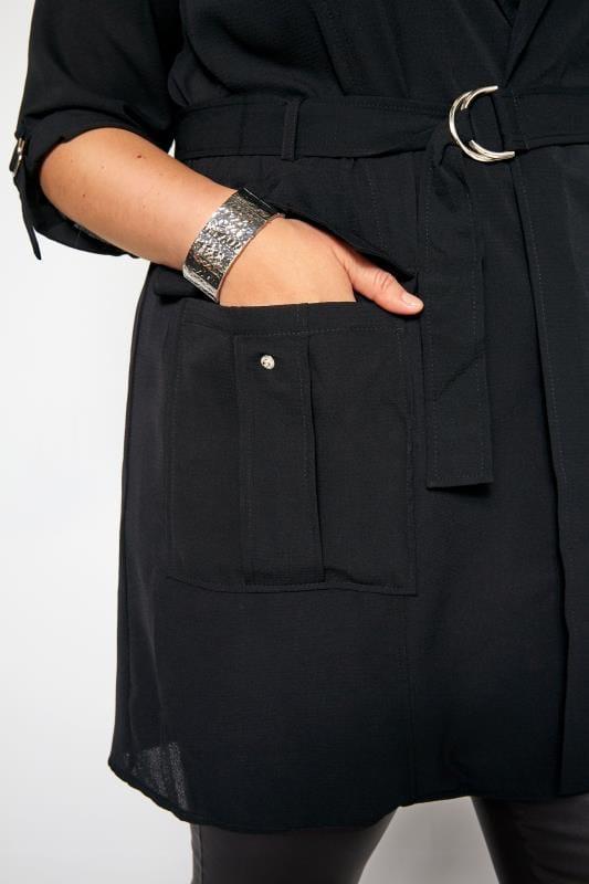 Black Crepe Utility Duster Jacket