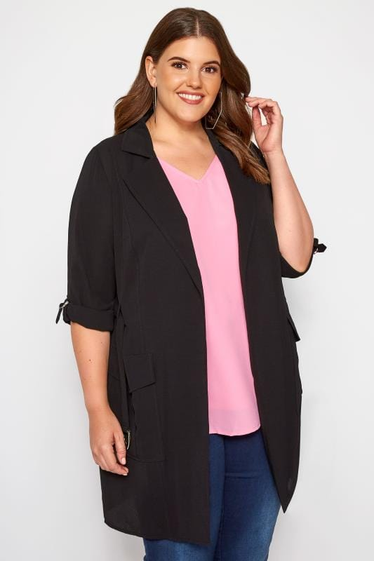 Plus Size Jackets Black Crepe Utility Duster Jacket