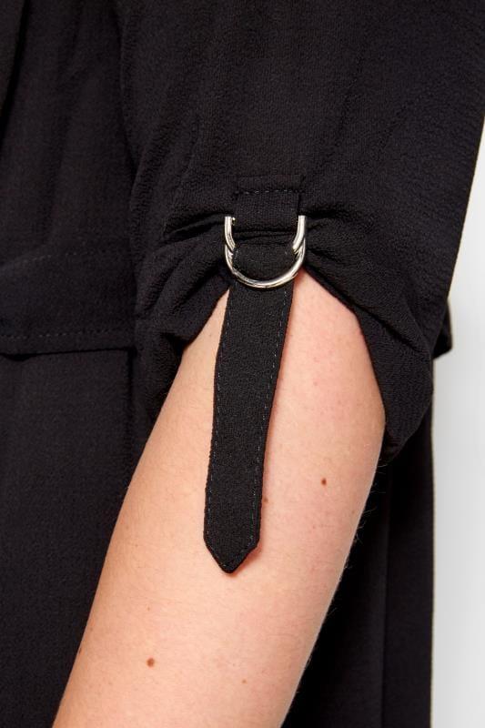 Black Crepe Utility Longline Duster Jacket
