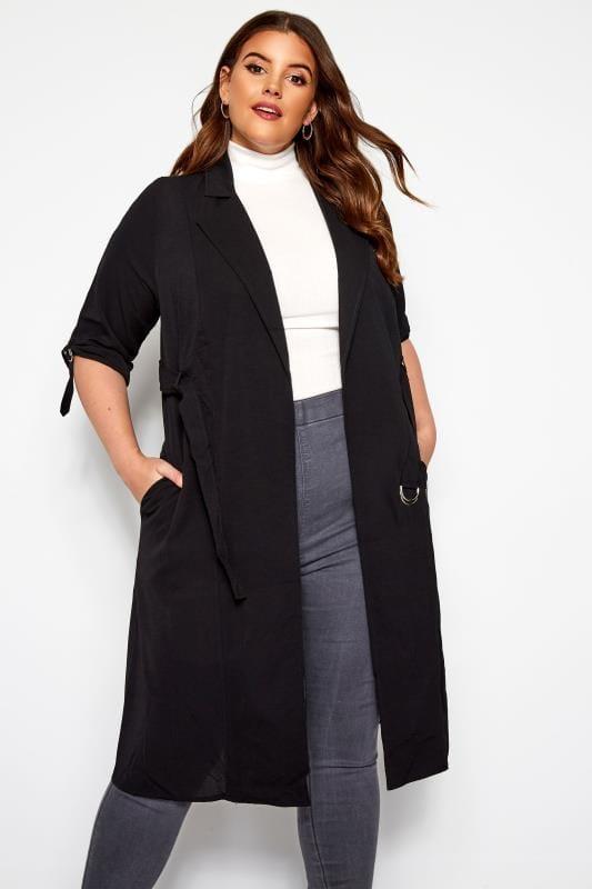 Plus Size Jackets Black Crepe Utility Longline Duster Jacket