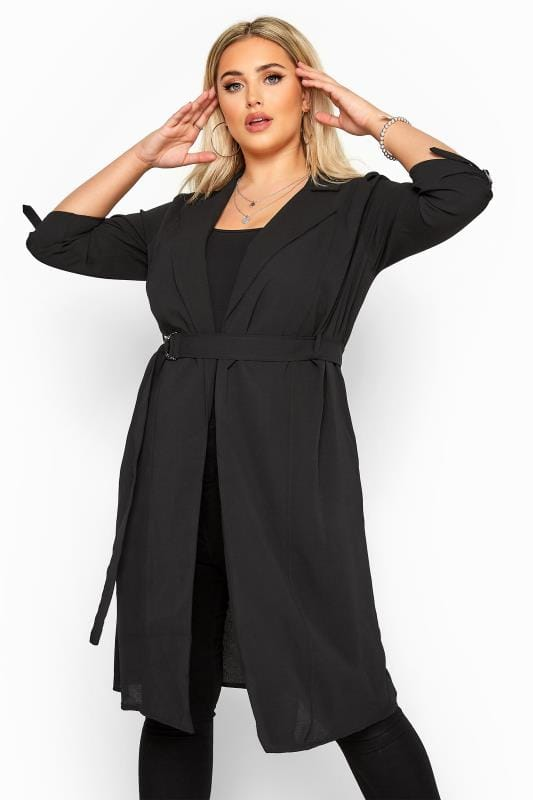 Plus Size Jackets Black Crepe Utility Longline Duster Jacket