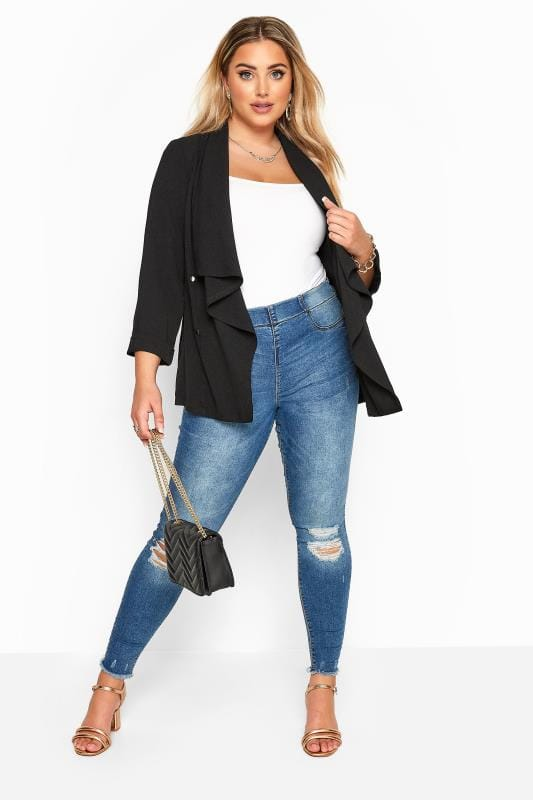 Black Crepe Waterfall Jacket