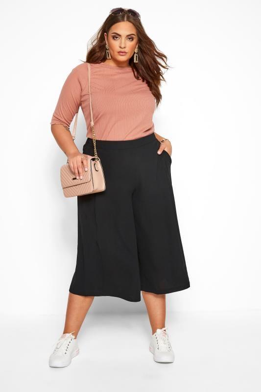 Plus-Größen Culottes Black Crepe Wide Leg Culottes