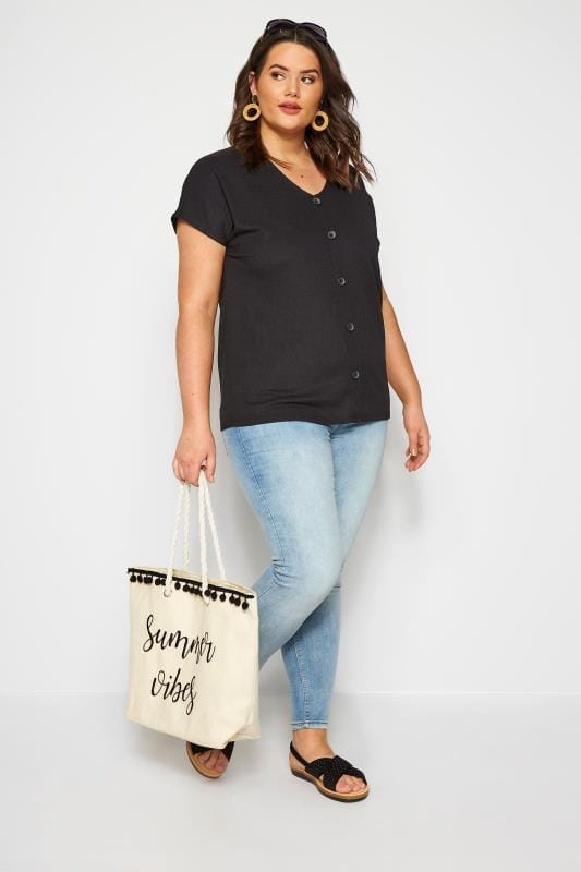 Black Crinkle Jersey Top