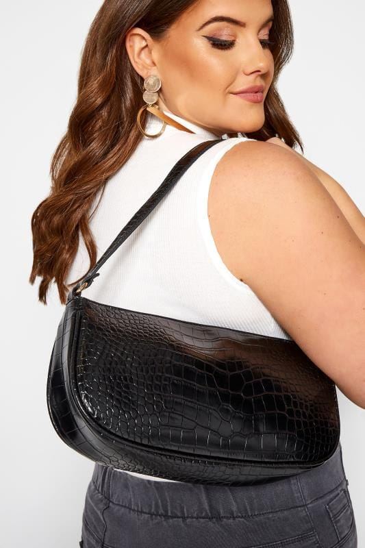 Bags & Purses Black Croc Shoulder Bag