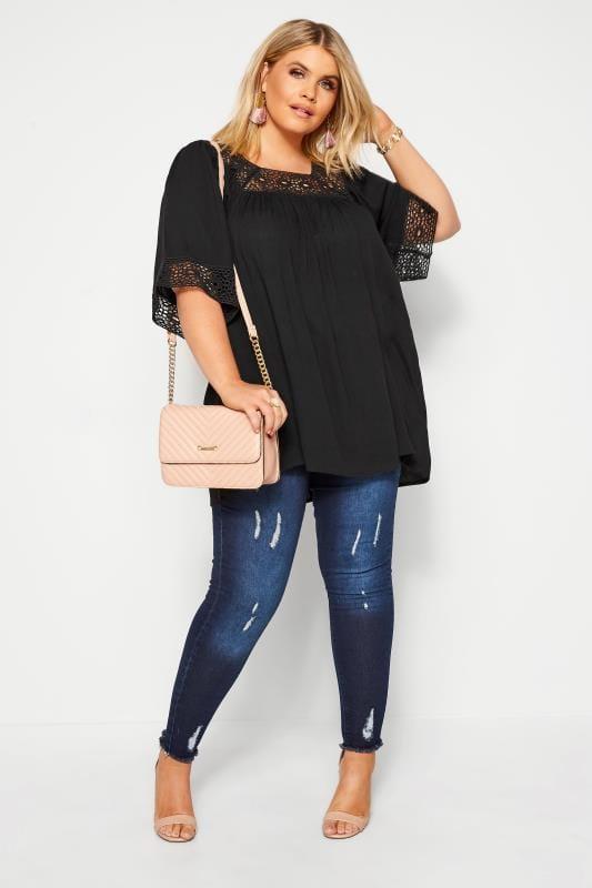 Plus Size Blouses Black Crochet Blouse