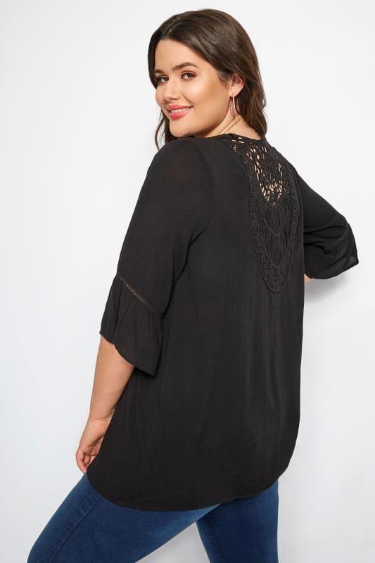 Große Größen Kimonos Leichter Cardigan mit Häkeleinsatz - Schwarz