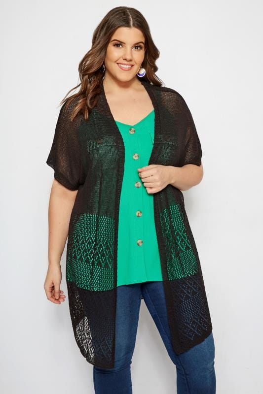 Black Crochet Effect Cardigan