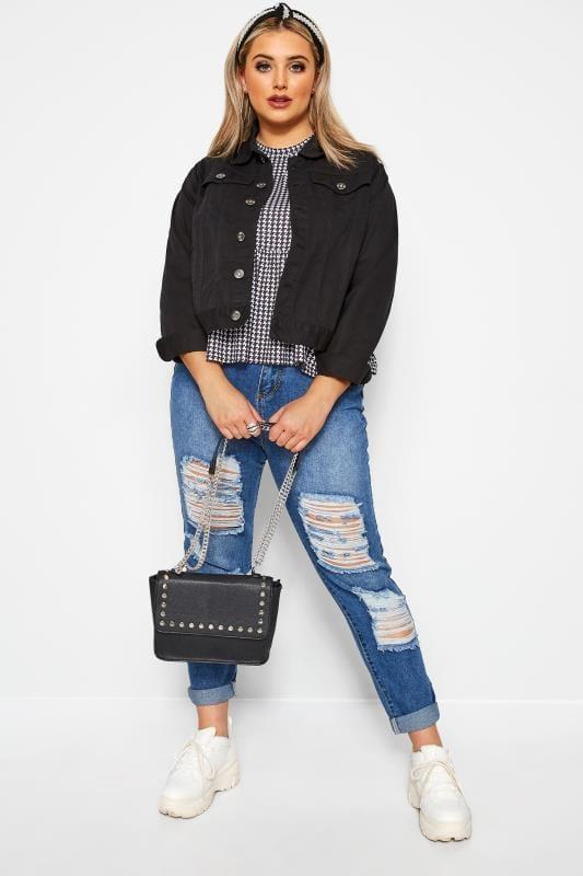 Большие размеры | Denim Jackets Black Cropped Denim Jacket