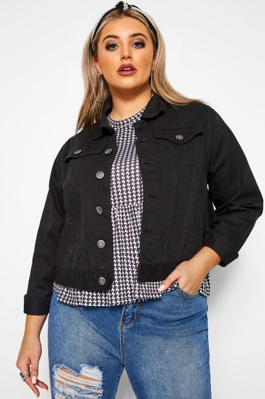 Plus Size Denim Jackets Black Cropped Denim Jacket