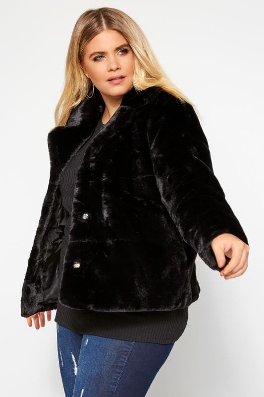Plus Size Coats Black Cropped Faux Fur Jacket