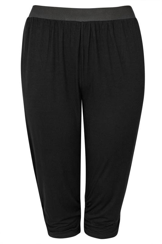 Black Cropped Harem Trousers
