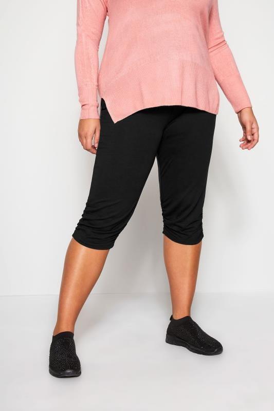 Plus Size Capri Pants Black Cropped Harem Trousers