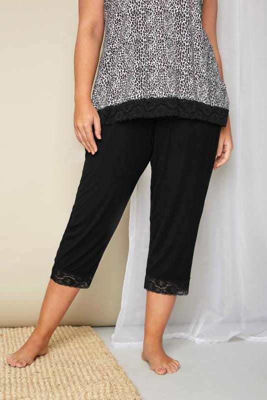 Plus Size Pyjamas Black Cropped Pyjama Bottoms With Lace Trim
