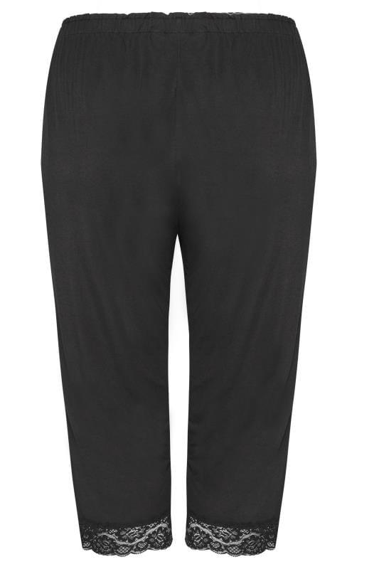 Black Cropped Pyjama Bottoms With Lace Trim