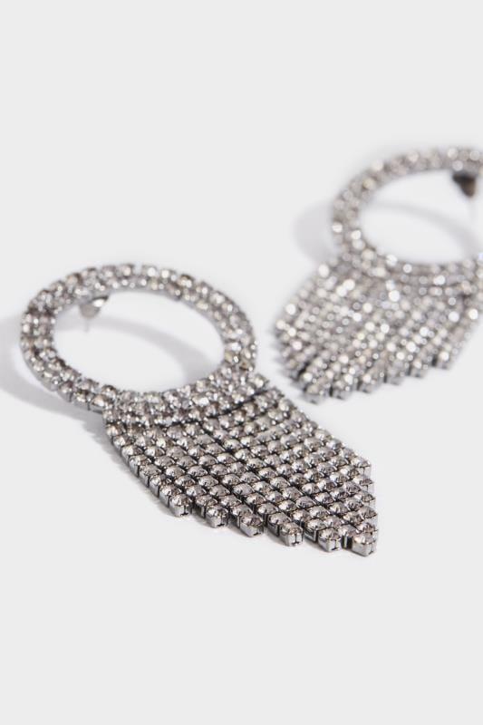 Runde Kristall-Ohrhänger - Schwarz