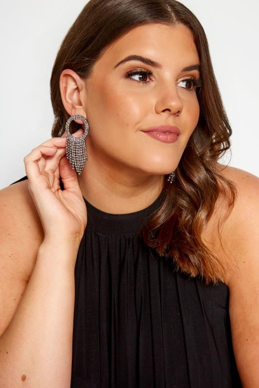 Black Crystal Circle Earrings