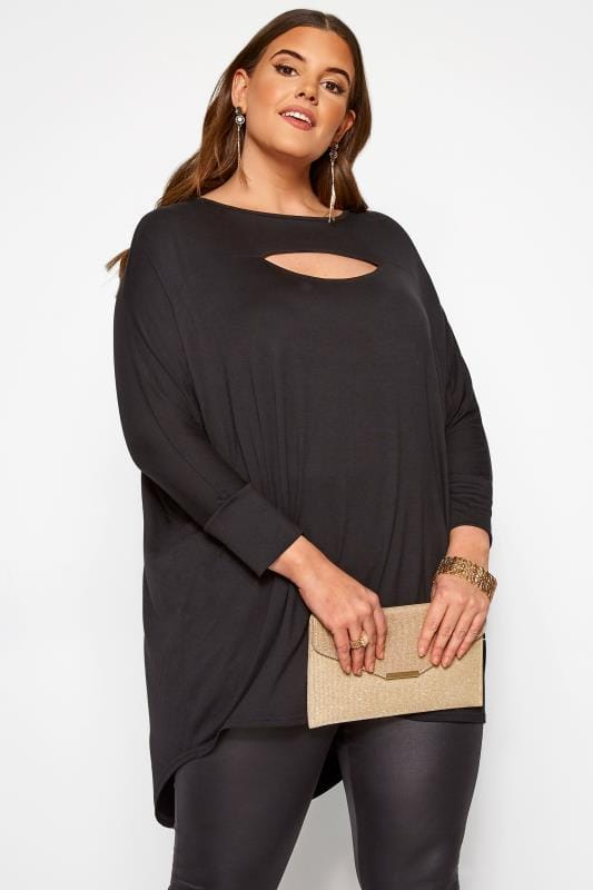 Plus Size Dipped Hem Tops Black Cut Out Extreme Dipped Hem Top