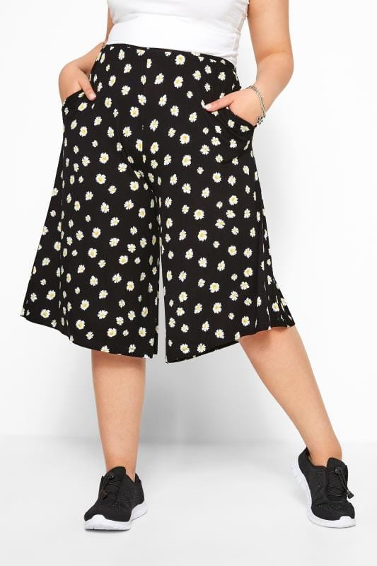 Black Daisy Print Culottes