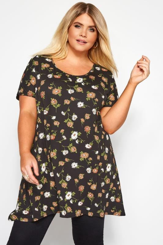 Plus Size Floral Tops Black Daisy Print Hanky Hem T-Shirt