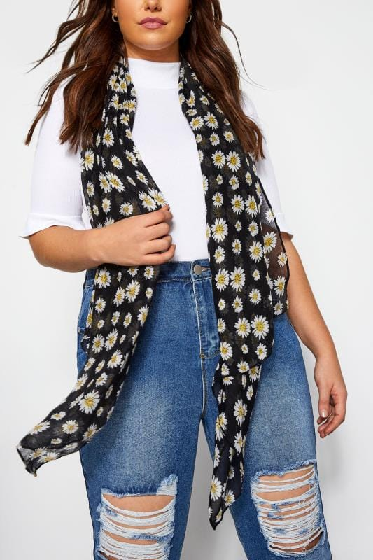 Scarves Grande Taille Black Daisy Print Scarf