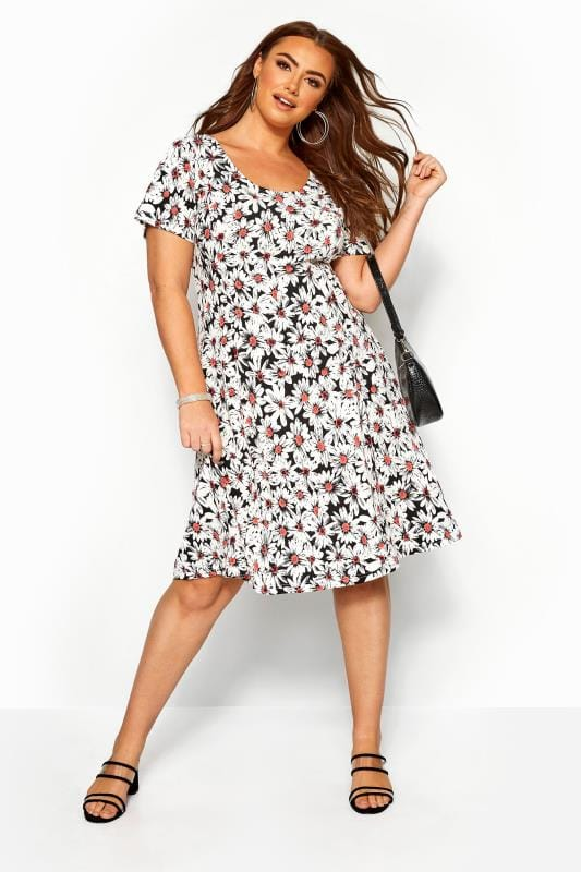 Black Daisy Print Swing Dress