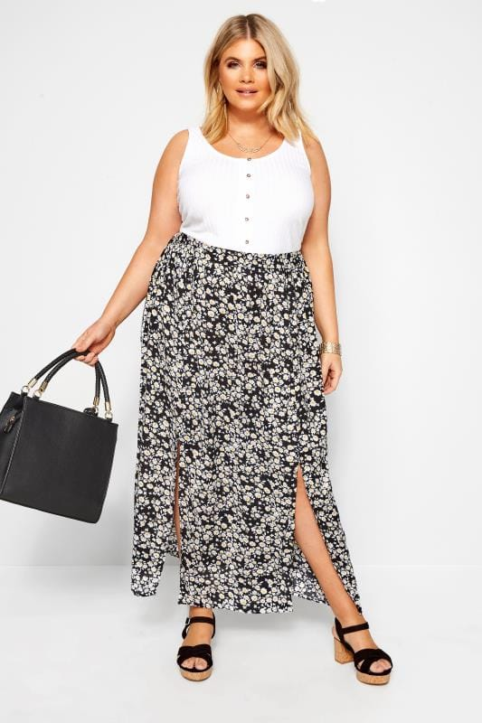 Plus Size Beauty Black Daisy Side Split Maxi Skirt