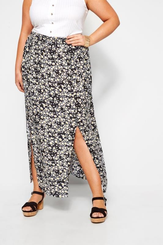 Plus Size Maxi Skirts Black Daisy Side Split Maxi Skirt