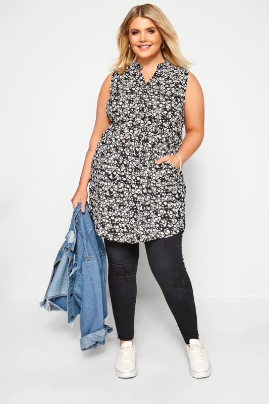 Plus Size Tunics Black Daisy Zip Neck Tunic