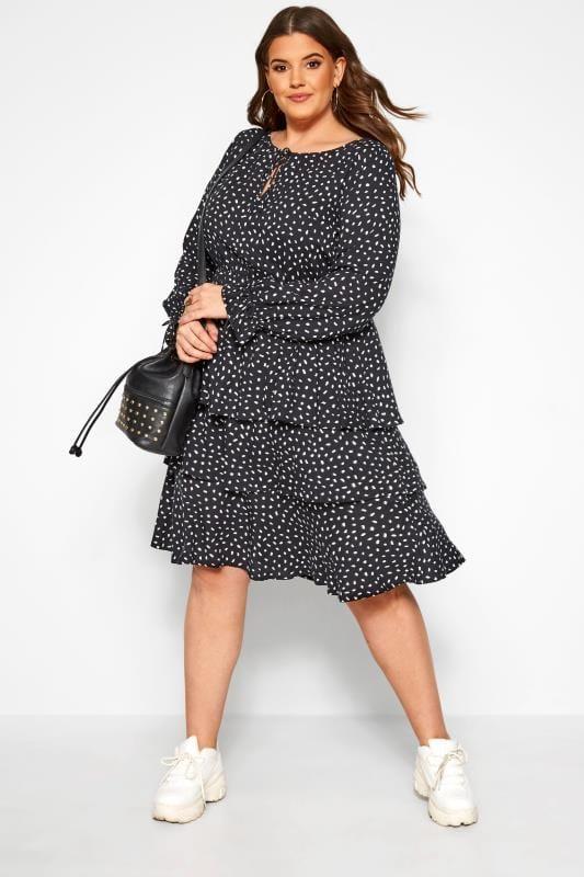Black Dalmatian Print Tiered Dress