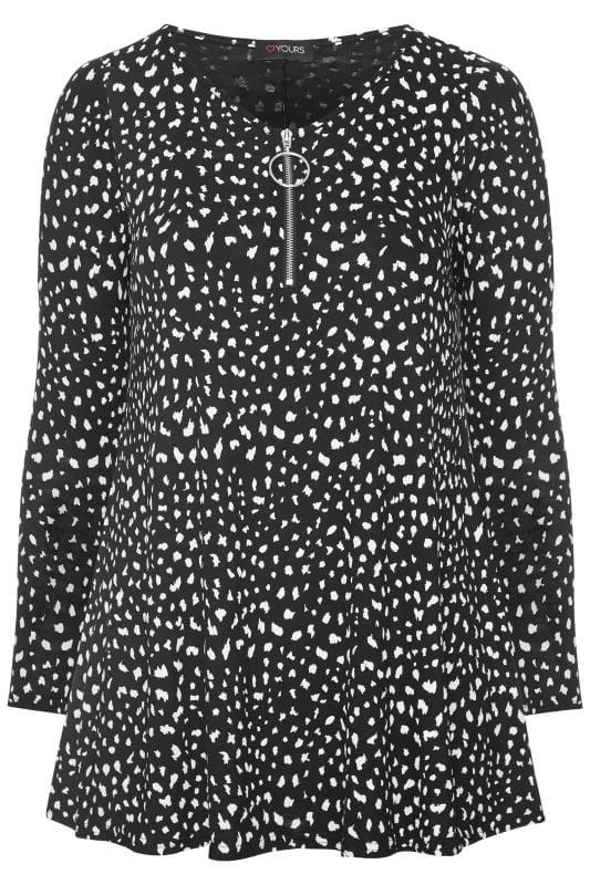 Black Dalmatian Print Zip Swing Top