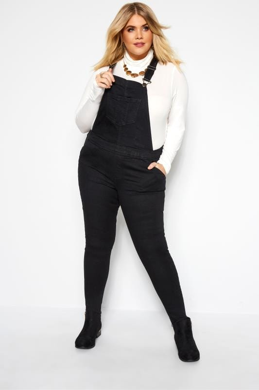 Dungarees dla puszystych Black Denim Dungarees