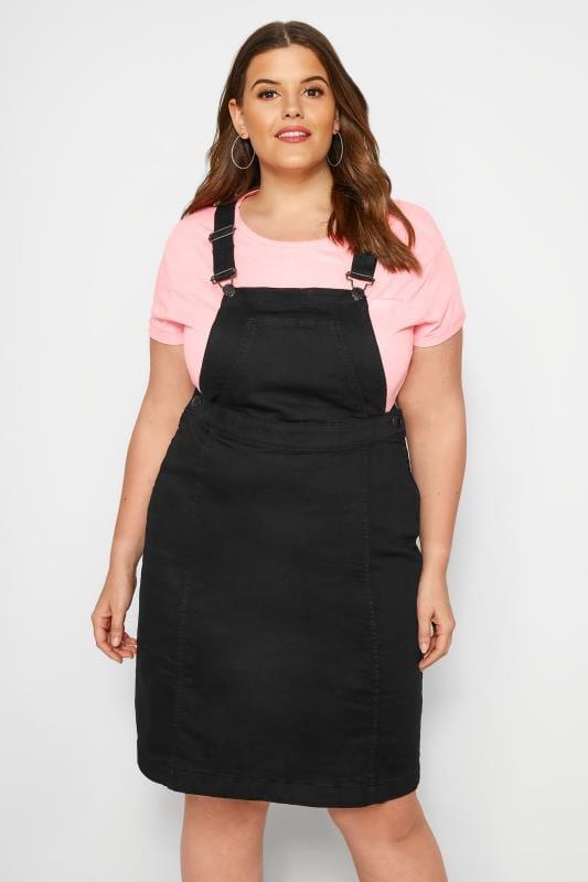 Plus Size Pinafore Dresses Black Denim Pinafore Dress