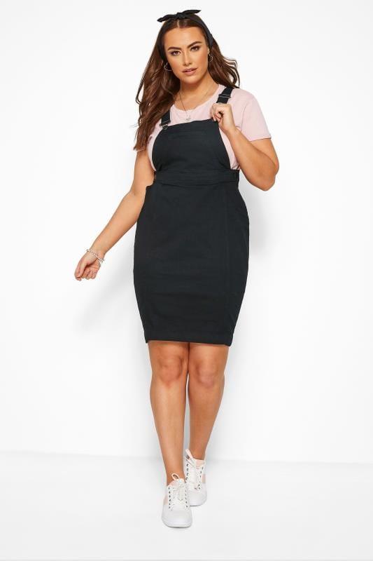 Black Denim Pinafore Dress