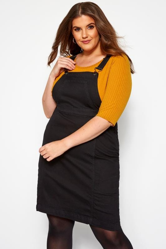 Plus Size Pinafore Dresses Black Denim Pinafore Dress