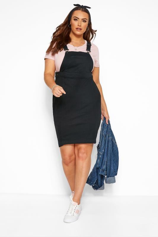 Pinafore Dresses dla puszystych Black Denim Pinafore Dress
