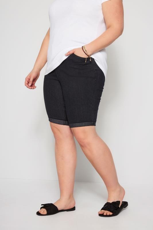 Große Größen Jeansshorts Denim Shorts - Schwarz
