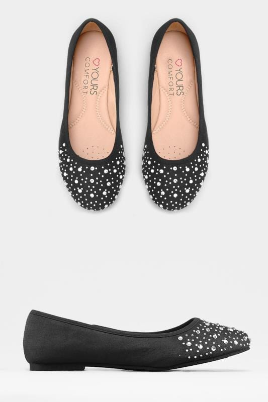 Black Large Diamante Ballerina Pumps In Extra Wide Fit