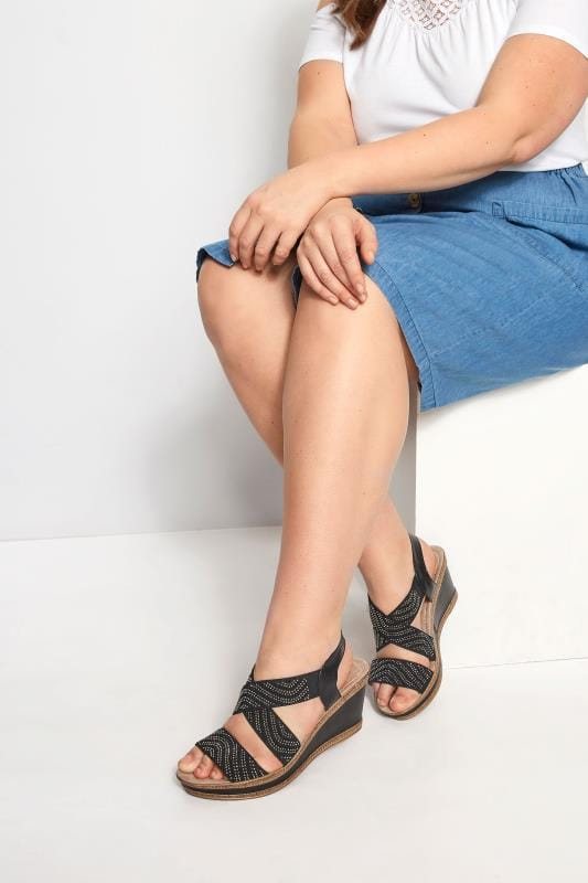 Black Diamante Cross Over Wedge Sandals In Extra Wide Fit
