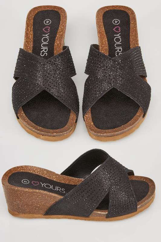 low priced 9ceab 06c08 Schwarze Sandalen mit Keilabsatz, überkreuzten Riemen und weiter Passform  EEE Fit