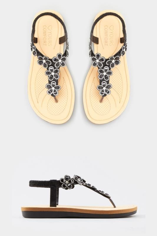 Black Diamante Flower Sandals In Extra Wide Fit