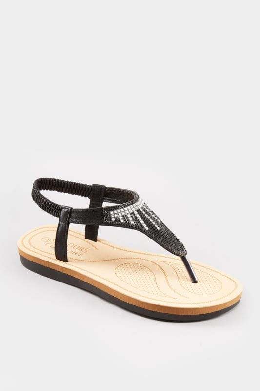 Black Diamante Sandals In Extra Wide Fit