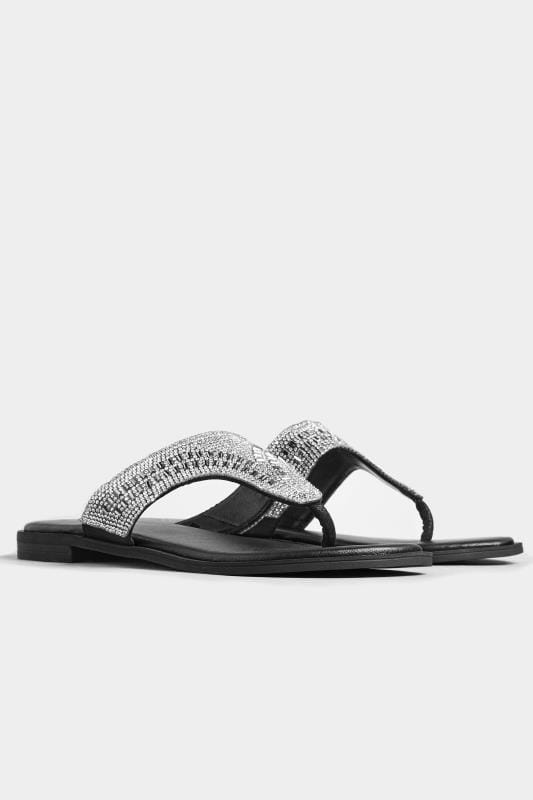 Black Diamante Flip Flops In Extra Wide Fit