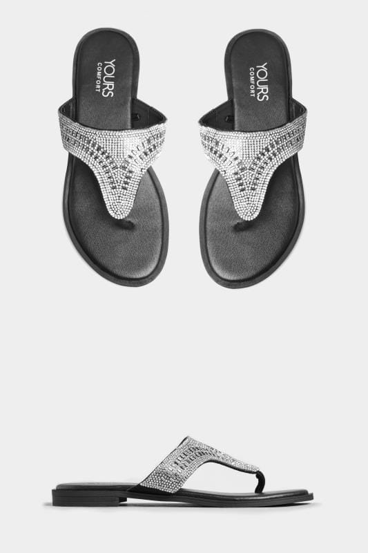 Wide Fit Sandals Black Diamante Sandals In Extra Wide Fit