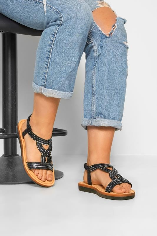 Black Diamante Twist Sandals In Extra Wide Fit